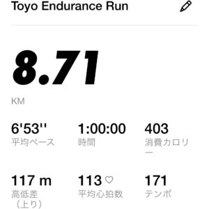 Nikeの8.71kmのリカバリーラン