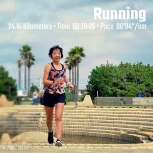 "【24.14kmロングラン(6'04"")】湘南海岸公園の水の広場"
