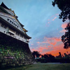 大阪城と大阪の夕焼け