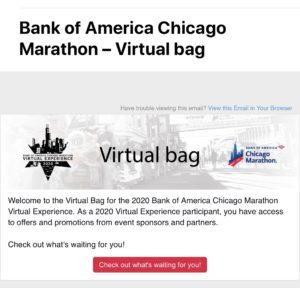 シカゴマラソンのバーチャルバッグ