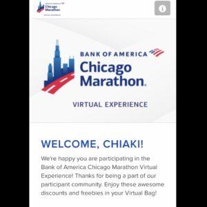 シカゴマラソンから、WELCOME, CHIAKI! と歓迎