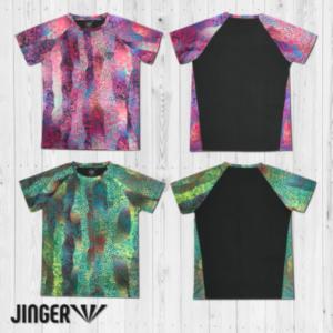 【JINGER】メンズ Fused柄・ランニングTシャツ【JM-1005/Rose】【JM-1005/Leaf】