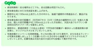 いわて盛岡シティマラソン2020オンライン by TATTAのポイント