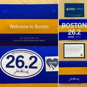 ジョンハンコック26.2バンパーステッカーとボストンアスレチック協会からのカード
