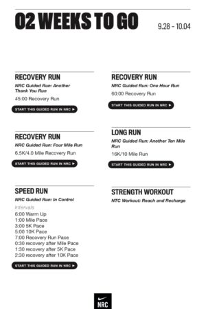 Nike開発の2020シカゴマラソントレーニングプランの02 WEEKS TO GO: 9.28–10.04/18週間練習メニュー(17週目)