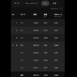 """【スピードラン:1:00マイルペース(4'51"""")+3:00 5K Pace(4'01"""")+5:00 10Kペース(5'03"""")+7:00リカバリーランペース(5'43"""")】ラン部分"""