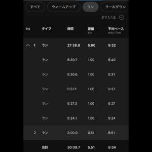 """【60:00リカバリーラン(5'42"""")】ラン部分"""