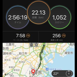 "22.13km、タイムは2:56:19、ペースはキロ7'58"""
