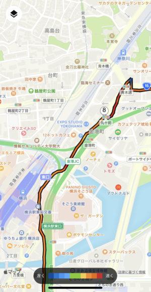 神奈川駅あたりで道を間違えそうに