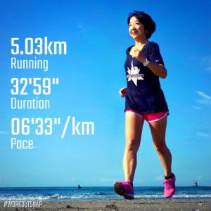 "【5km-フレックスデイ(6'34"")】材木座海岸"