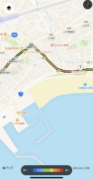 1km過ぎの最初の分岐点の地図