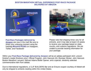 ボストンアスレチック協会(B.A.A)から届いた「ボストンマラソンバーチャルエクスペリエンスのポストレースパッケージ発送」お知らせメール