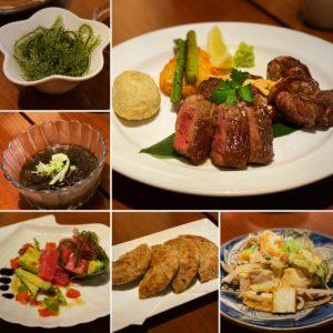 沖縄料理にステーキも
