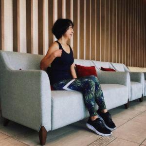 マイティソロを着て沖縄の北谷ビーチヒルトンホテルで2