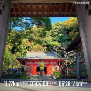 """【5'16""""/kmで8km+4'19""""/kmで5x45秒】荏柄天神社"""