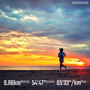 """【5'24""""/kmで6.97km+4'28""""/kmで8x30秒】材木座海岸"""