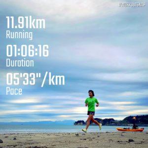 """【5'23""""/kmで8km+4'20""""/kmで8x30秒】材木座海岸"""