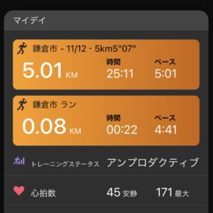 """【5'01""""/kmで5.01km】80m余分にラン"""