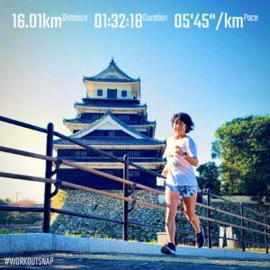 """【ハーフマラソンシミュレーション:6'05""""/kmで6.4km+5'26""""/kmで6.4km+5'45""""/kmで3.2km】中津城"""