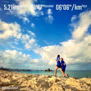 "【6'06""/kmで5.21km】ヒルトン沖縄北谷リゾートから浜へ"