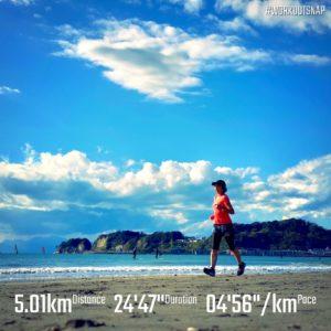 """【4'57""""/kmで5km】材木座海岸"""