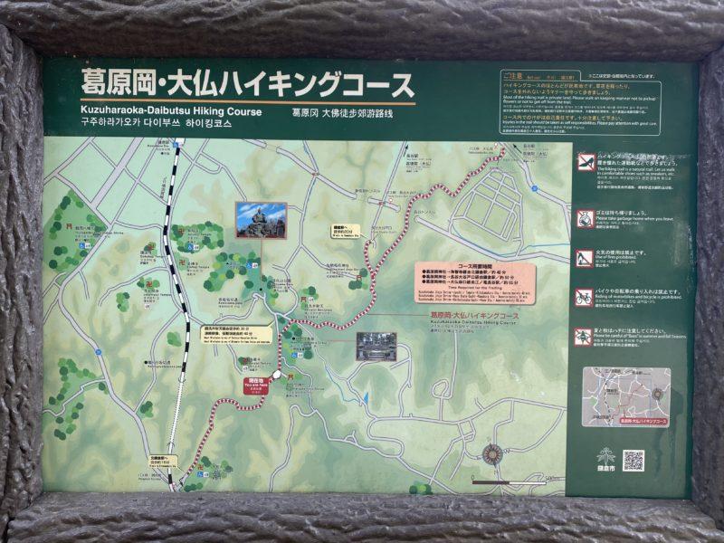 葛原岡・大仏ハイキングコース案内板の現在地