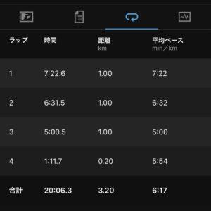 "【6'17""/kmで3.2km】"