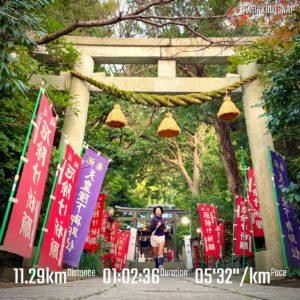 """【5'19""""/kmで8km+4'22""""/kmで5x50秒】八雲神社"""