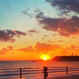 江の島の夕陽