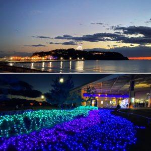 江の島やえのすい(新江ノ島水族館)のライトアップ