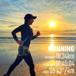 """【5'44""""/kmで18.34km】材木座海岸"""