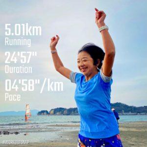"""【4'59""""/kmで5.01km】材木座海岸"""