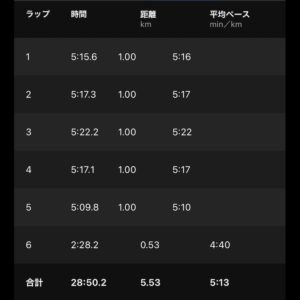 "【5'13""/kmで5.53km】"