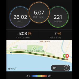 """【オフ→5'08""""/kmで5km】マップ"""