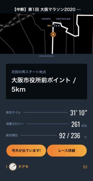 大阪マラソン2020結果表示