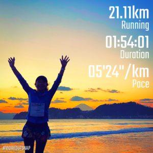 【ボストンマラソンハーフ レースデー:1時間54分】材木座海岸