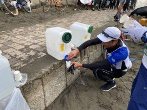 月例湘南マラソンのスタート・ゴール地点に飲料水あり