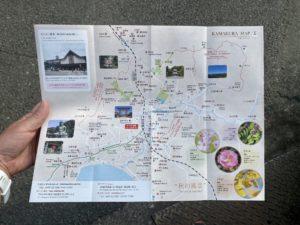 北鎌倉駅東口に置かれたガイドマップ