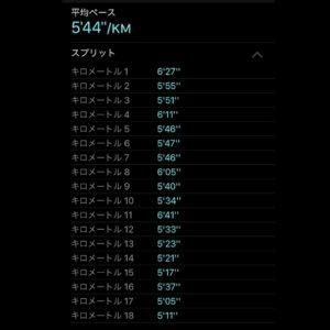 "【5'44""/kmで18.34km】スプリット"
