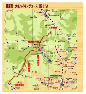 葛原岡・大仏ハイキングコースの地図