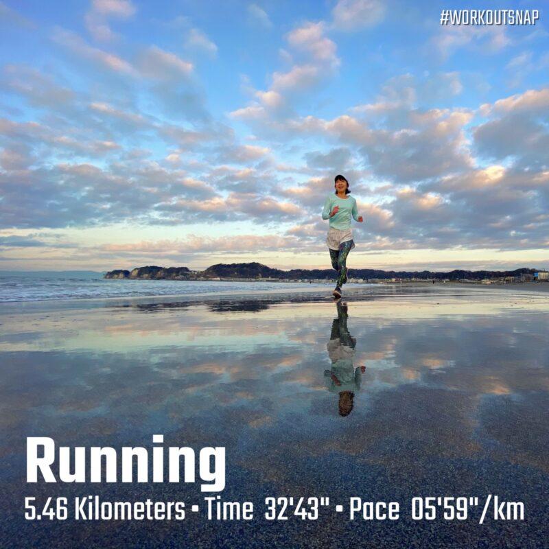 "5.46km(6'00"") イージーラン【2021/1/26】in材木座海岸"
