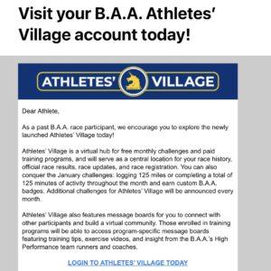 ボストンアスレチック協会からアスリートのための選手村オープンのメール