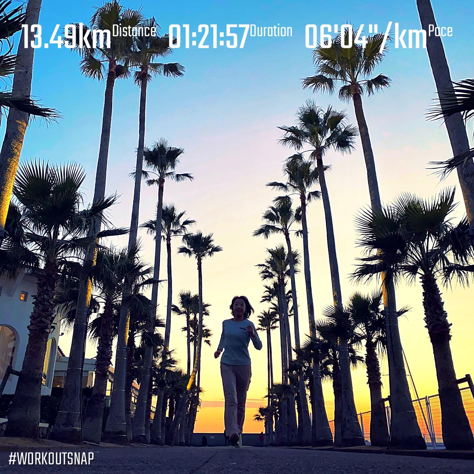 """13.49km(6'05"""") 逗子ビーチラン【2021/1/21】in逗子マリーナ"""