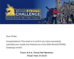 ボストンマラソンバーチャルエクスペリエンスのハーフマラソン