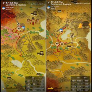 Garmin Sportsのヴァーチャルコースチャレンジ「西への旅」、1/3と2/3ステージ