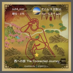 Garmin Sportsのヴァーチャルコースチャレンジ「西への旅」1/3ステージ