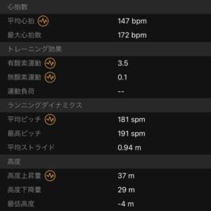 """7.09km(5'50"""") イージーランのピッチとストライド"""