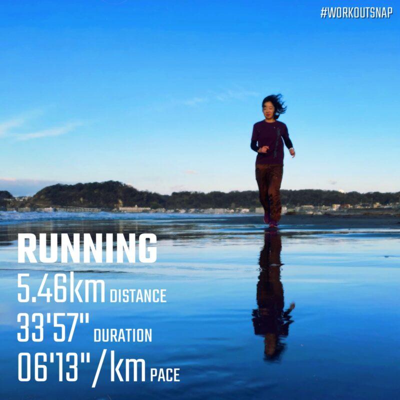 "5.46km(6'13"") イージーラン【2021/2/17】in材木座海岸"