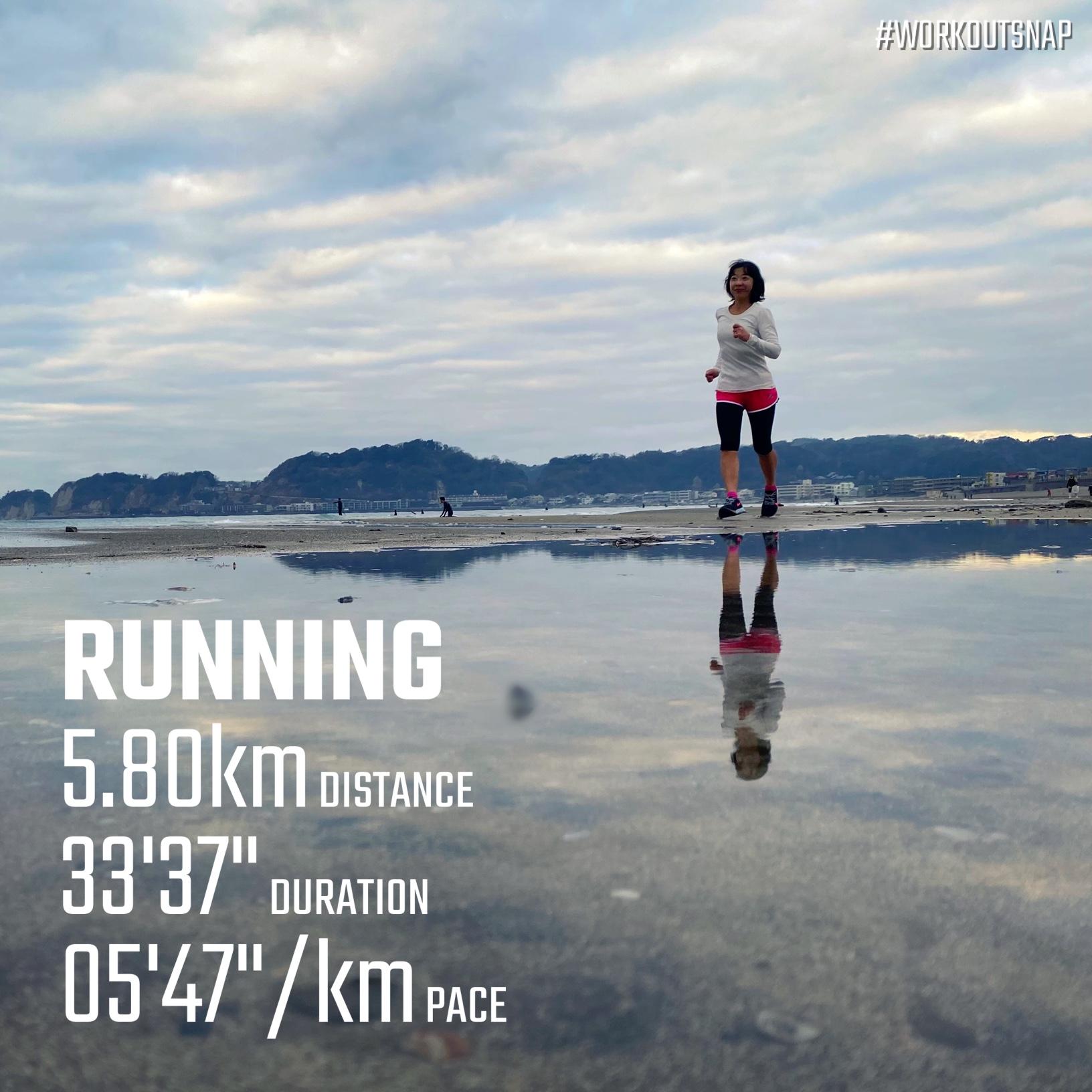 "5.8km(5'48"") スピードリピート【2021/2/15】in材木座海岸"