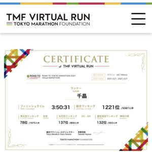 「ROAD TO TOKYO MARATHON 2021 Virtual MARATHON」1221位